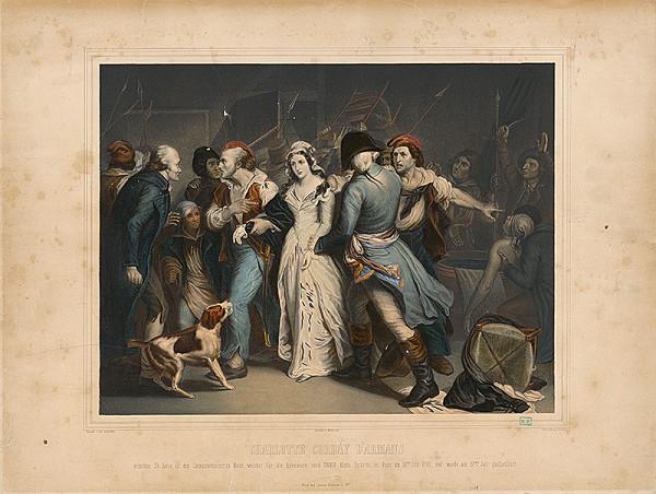 Leopold Müller, Johann Höfelich, Ary Scheffer – Charlotta Corday pri zavraždenom Maratovi