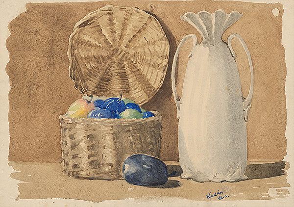 Gejza Kukán – Zátišie s ovocím a vázou