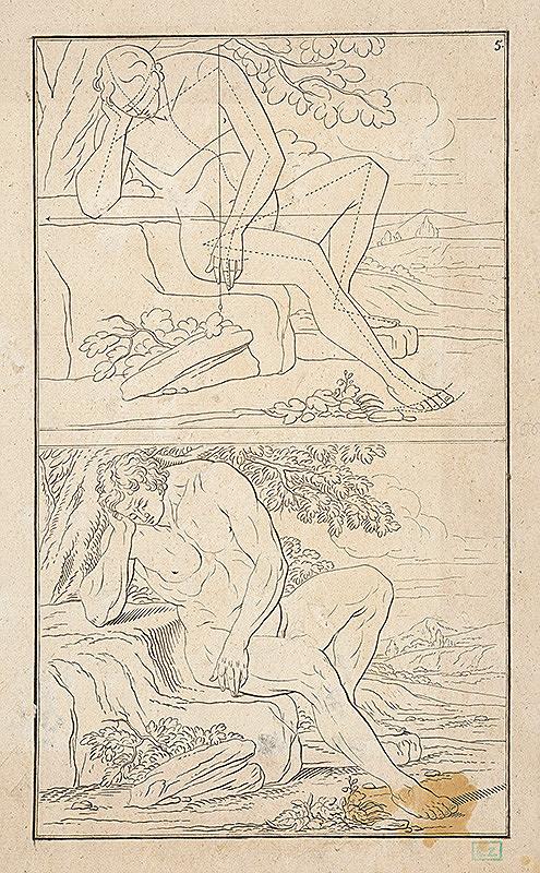 Stredoeurópsky autor z 19. storočia – Heroický mužský akt pod stromom