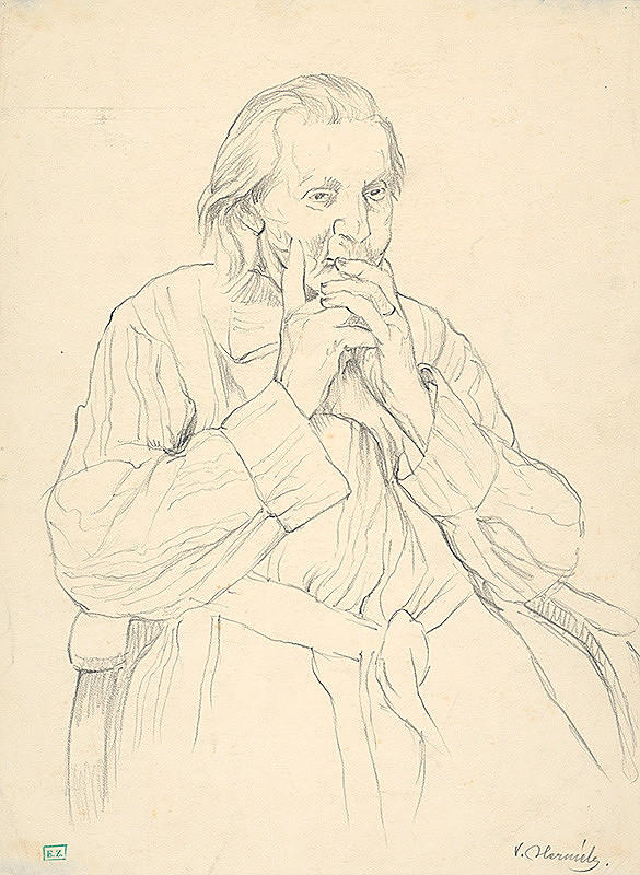 Viktor Hermély – Portrét starenky v kresle