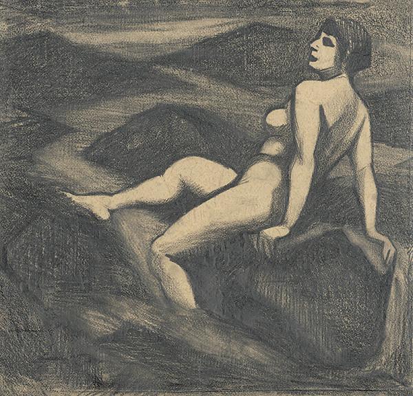Viktor Hermély – Akt pri potoku II. (kresba)