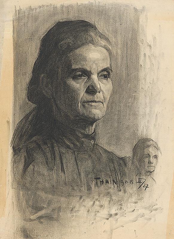Ján Thain - Portrét starej ženy v šatke