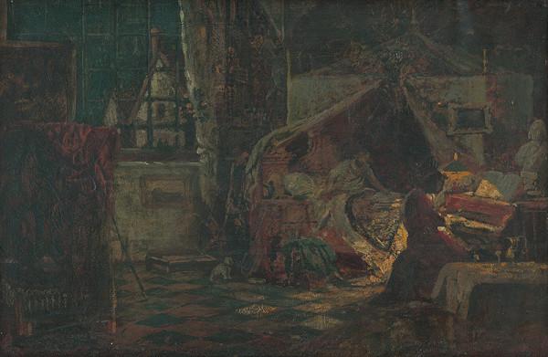 Bertalan Székely - Večerná scéna v byte