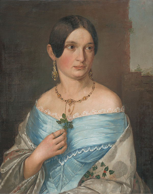 Stredoeurópsky majster – Portrét dámy s ružou