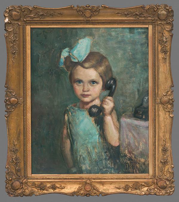 František Reichentál - Portrét dievčatka s telefónom