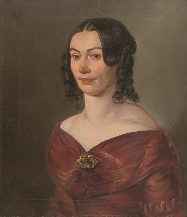 Srbský maliar - Portrét dámy v červených šatách