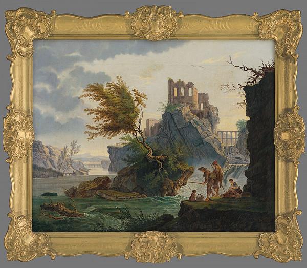 Neznámy maliar, Claude-Joseph Vernet - Rybári pod zrúcaninou hradu (La péche á la ligne - kópia)