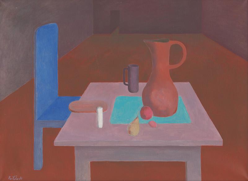 Milan Paštéka – Zátišie s modrou stoličkou, 1983, Galéria umenia Ernesta Zmetáka