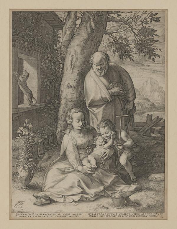 Hendrick Goltzius - Svätá rodina s Jánom Krstiteľom