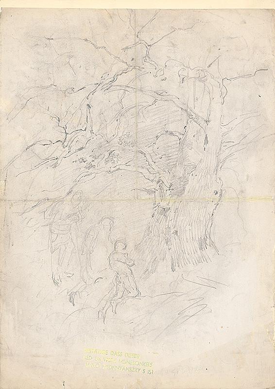 Ladislav Mednyánszky – Štúdia stromu a postáv