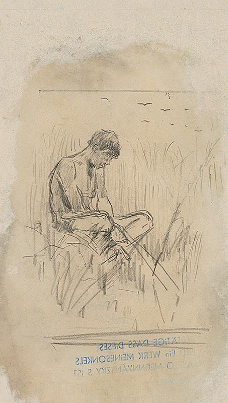 Ladislav Mednyánszky - Štúdia sediaceho chlapca