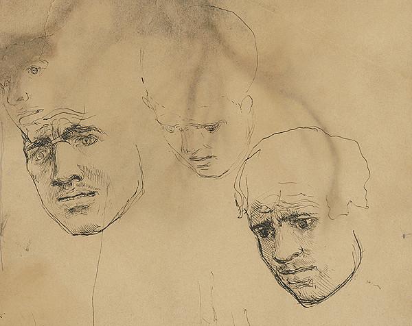 Ladislav Mednyánszky - Štúdia troch mužských hláv