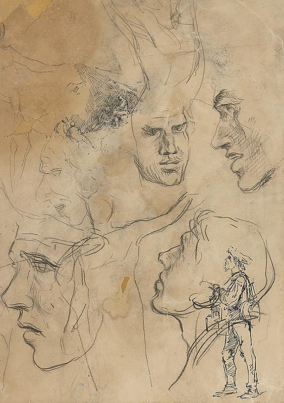 Ladislav Mednyánszky – Štúdia mužských hláv a postava muža