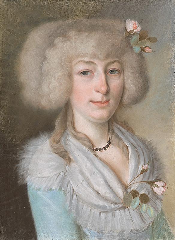 Viedenský maliar z 19. storočia – Portrét dámy s ružou