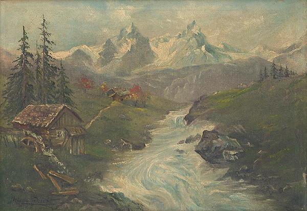 Rakúsky maliar z 19. storočia – Alpská krajina