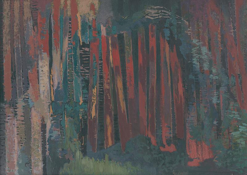 Ester Šimerová-Martinčeková – Červený les, 1961, Liptovská galéria Petra Michala Bohúňa