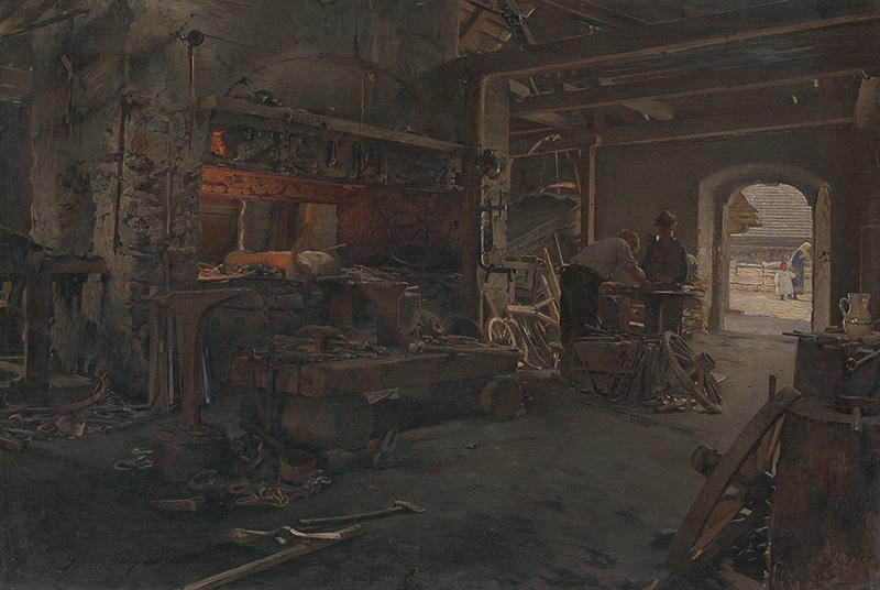 Dominik Skutecký – Vnútro kováčskej dielne, 1905, Liptovská galéria Petra Michala Bohúňa