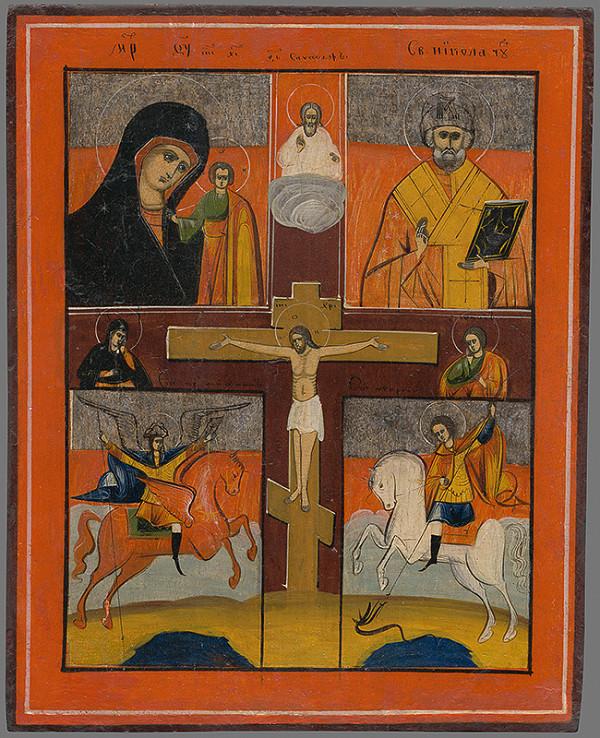 Ukrajinský maliar z 2. polovice 16. storočia - Ukrižovaný Kristus a svätci