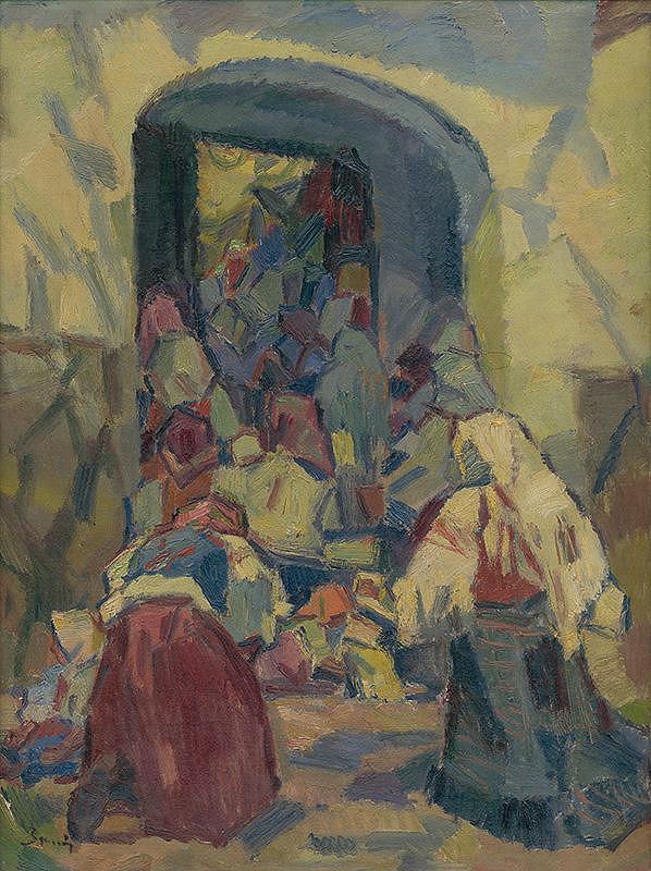 Gustáv Mallý – Pred kostolom
