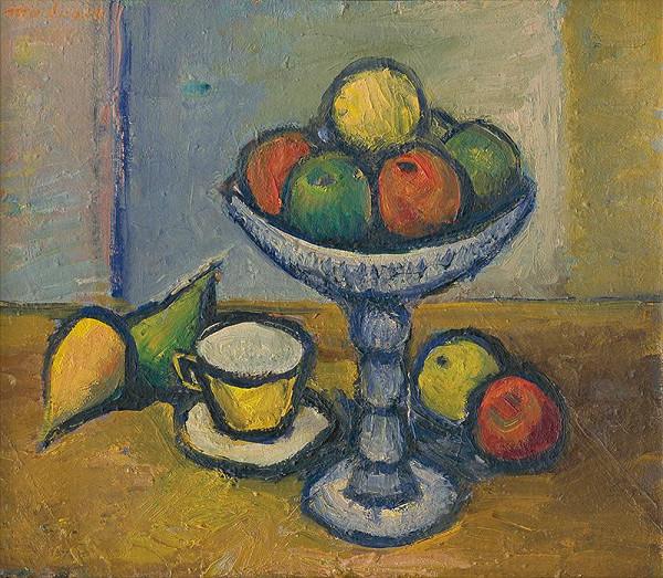 Ján Mudroch - Zátišie s ovocím a šálkou