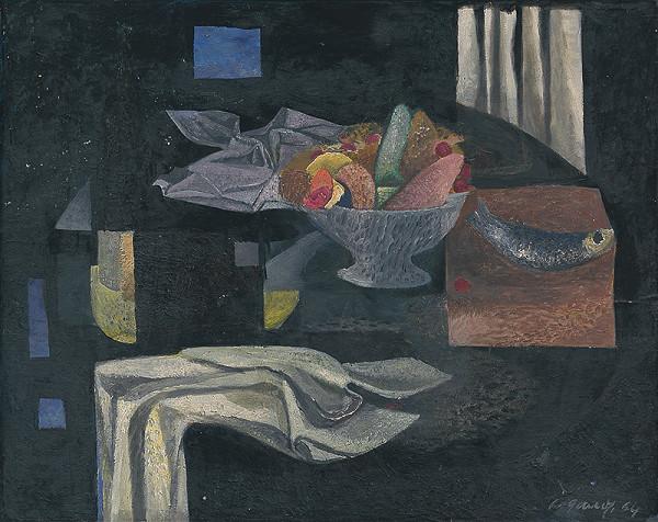 Ladislav Gandl - Zátišie s čiernym pozadím