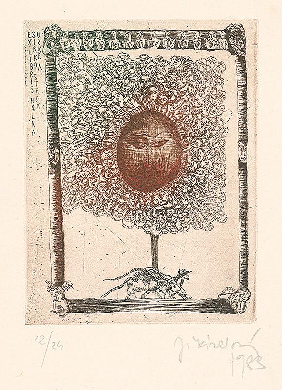 Jana Kiselová-Siteková - Ex libris slnko, strom a oráč