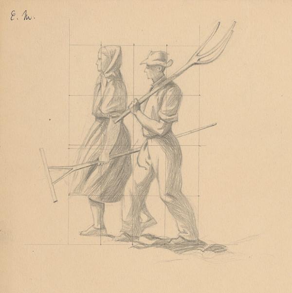 Emil Makovický - Muž a žena s hrabľami
