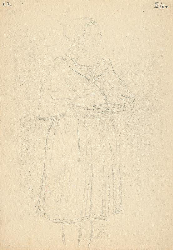 Emil Makovický - Žena v kroji s modlitebnou knižkou
