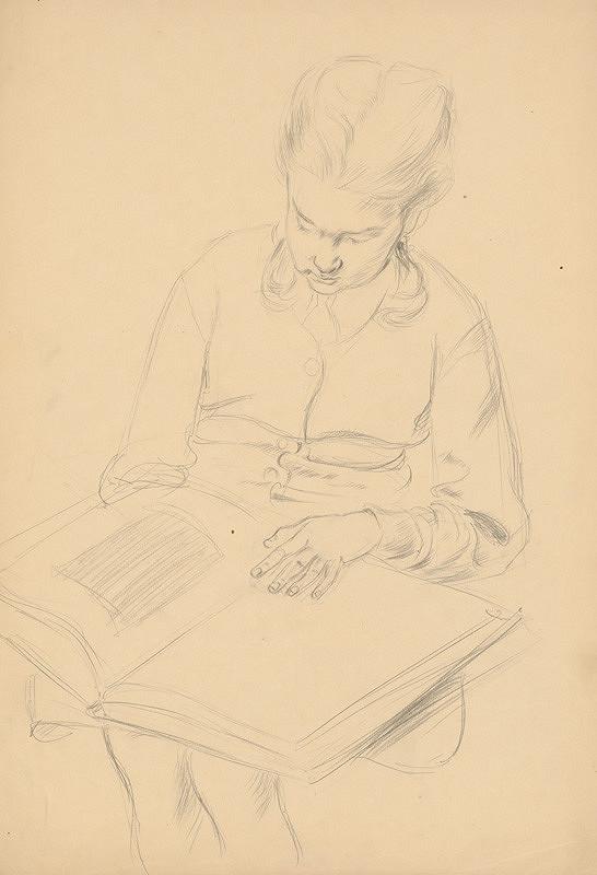 Emil Makovický - Sediaca žena s knihou