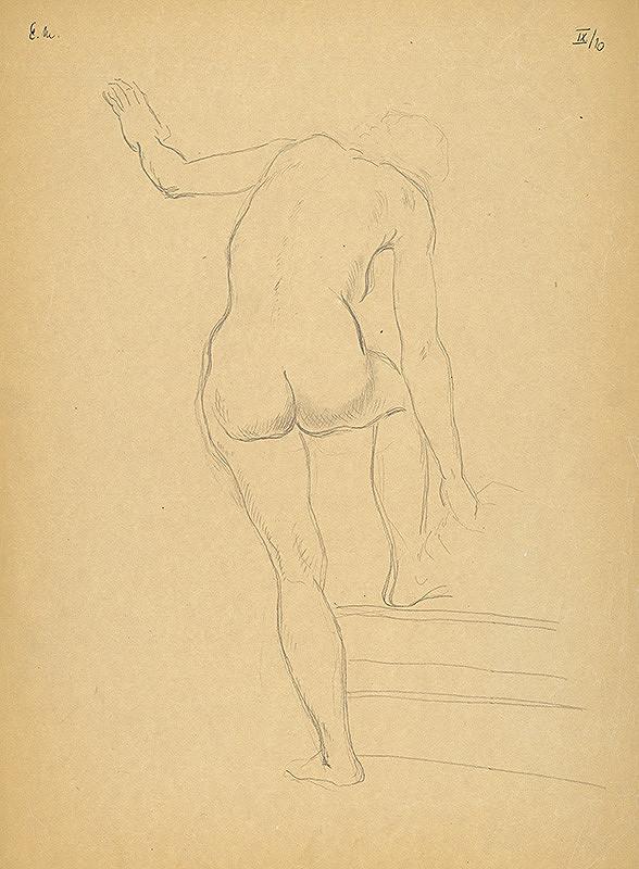 Emil Makovický – Ženský akt odzadu s nohou na schode