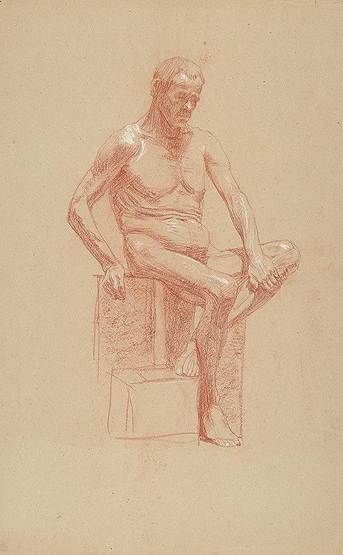 Jozef Hanula - Štúdia sediaceho mužského aktu