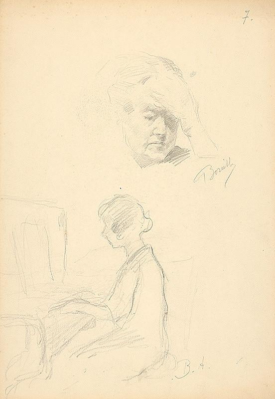 Andor Borúth - Skica hlavy ženy a sediacej ženy