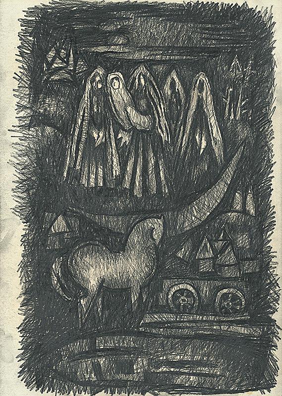 Ľudovít Lukáč – Ženy nad dedinou s koňom