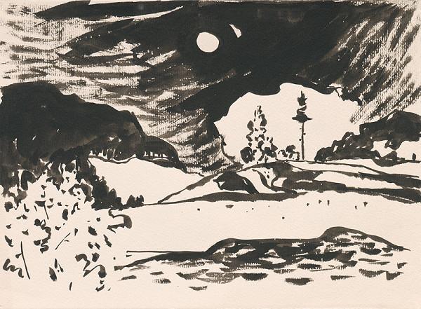 Viliam Chmel – Hornatá krajina s mesiacom a oblakmi