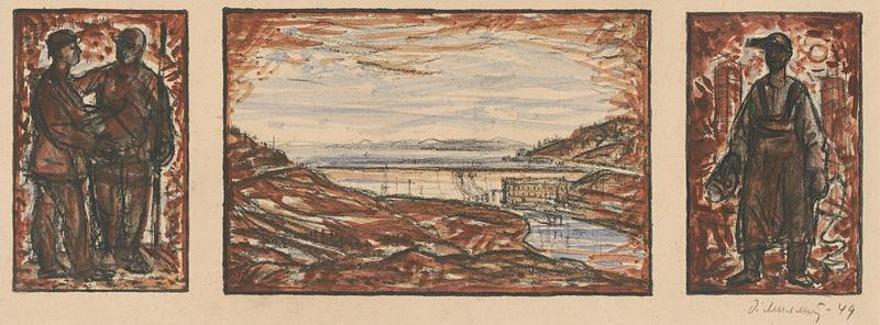 Dezider Milly – Triptych Oravská priehrada, 1949, Oravská priehrada
