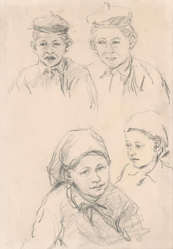 Ignác Kolčák – Štúdie hláv detí