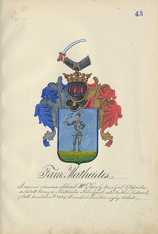 Adolf Medzihradský - Erb rodiny Matheidesovej
