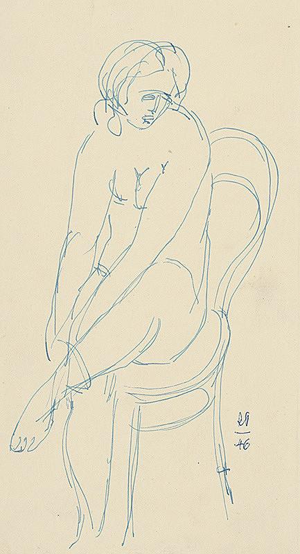 Rudolf Pribiš - Sediaci ženský akt