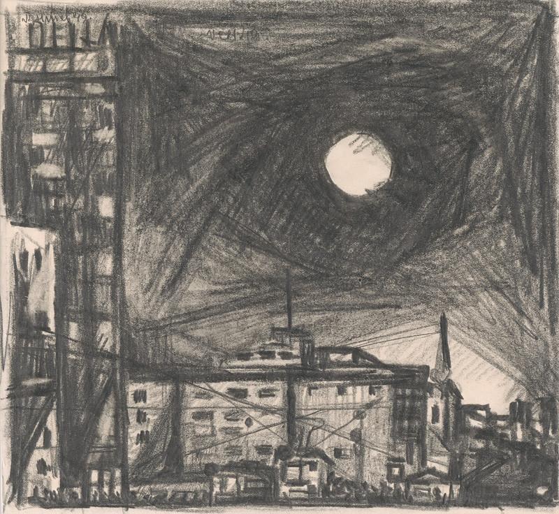 Viliam Chmel - Mesiac nad mestom II., 1949, Oravská galéria v Dolnom Kubíne