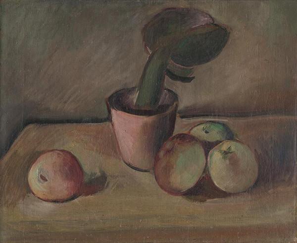 Jakub Bauernfreund - Zátišie s jablkami a kaktusom