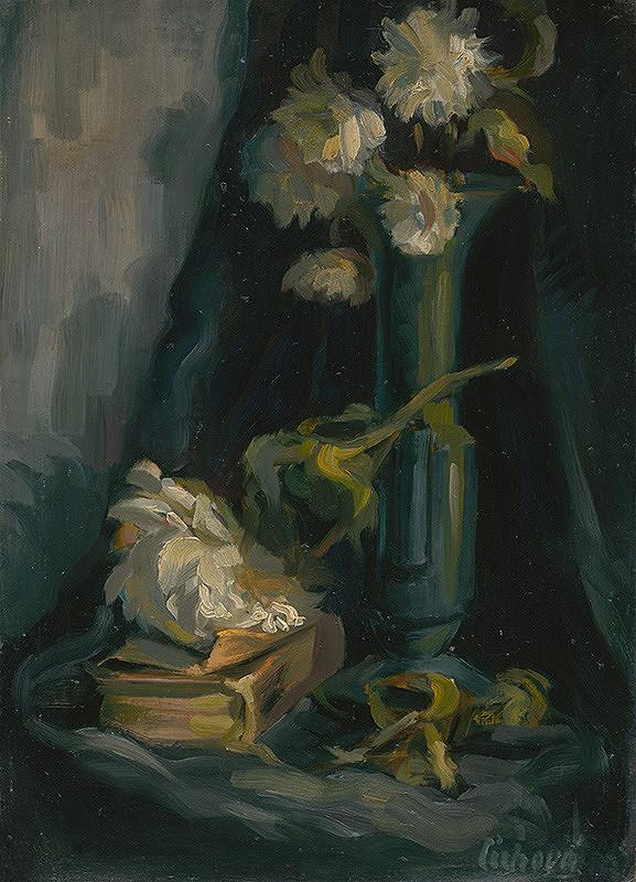 Matilda Čechová - Zátišie s vázou s knihou