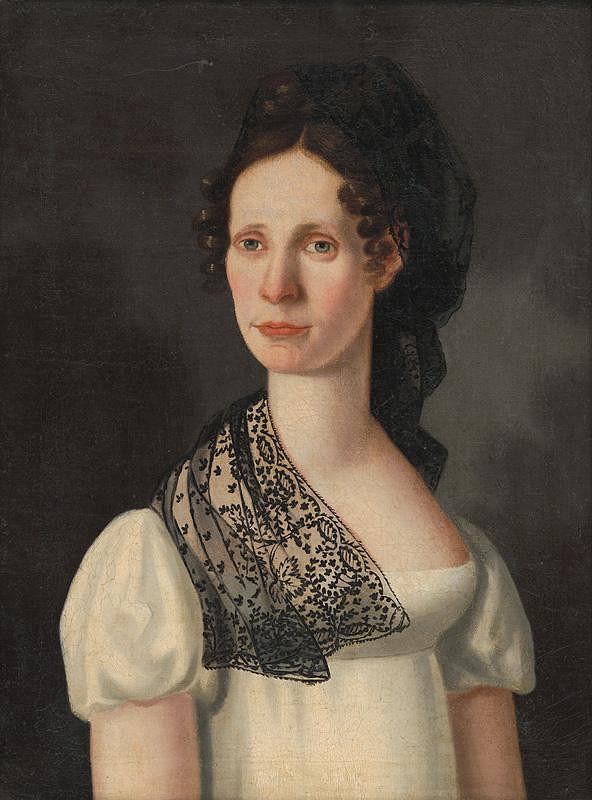 Slovenský maliar z 1. polovice 19. storočia – Portrét Apolónie Kubínyiovej