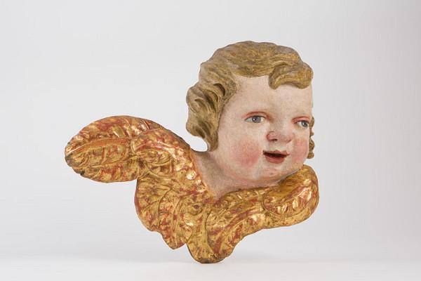 Slovenský rezbár z 2. polovice 18. storočia – Hlava anjela s krídlami
