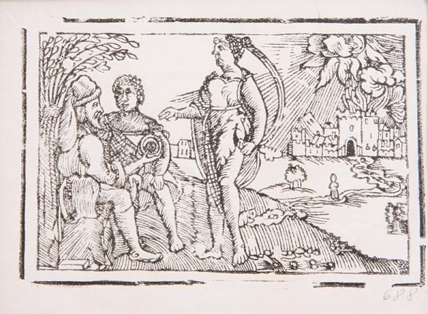 Neznámy autor – Dvaja muži a žena s horiacim mestom v pozadí