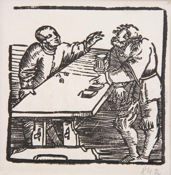 Neznámy autor - Muži pri stole