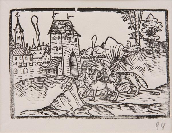 Neznámy autor – Pes a líška pred bránami mesta - Ilustrácia k Ezopovým bájkam
