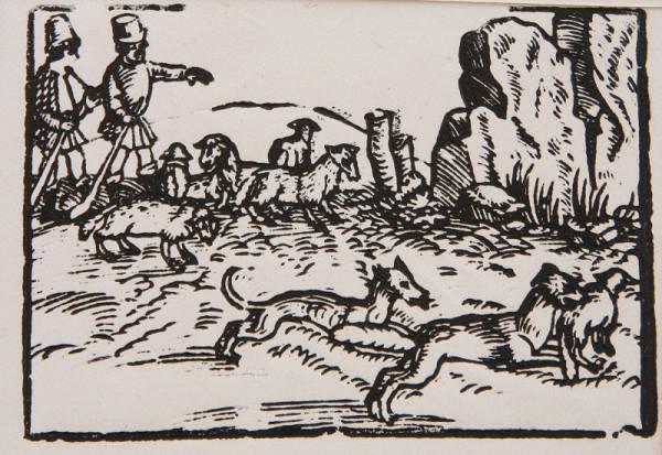 Neznámy autor – Napadnutie stáda oviec - Ilustrácia k Ezopovým bájkam