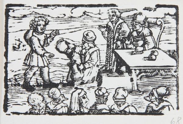 Neznámy autor – Prelievanie vína - Ilustrácia k Ezopovmu životu