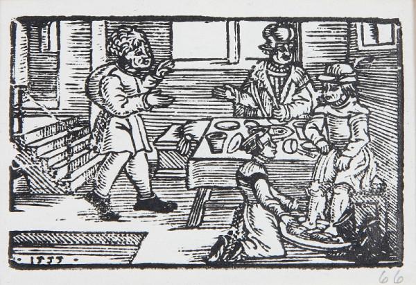 Neznámy autor - Hostiteľka umýva hosťovi nohy (Ezopove bájky)