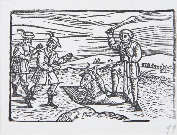Neznámy autor - Poľovníci a zviera vo vykopanej pasci